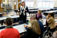 Julie Smith during small group discussion at Media Literacy Week 2012